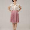 różowa spódnica plisowana z koła