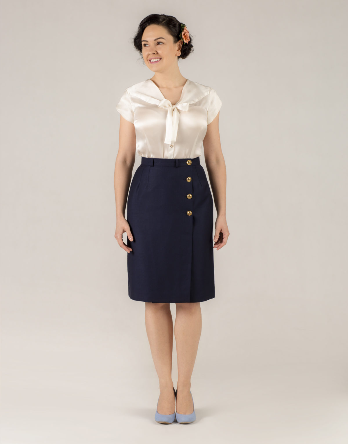 e444e88aee Midnight blue wrap skirt